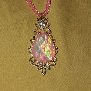 """Gorgeous pink stone long necklace NEW 27"""" long"""